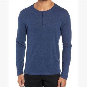 Vince Blue Long Sleeve Raw Hem Henley Tee Shirt M